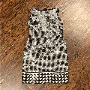 Black and white checkered shift dress